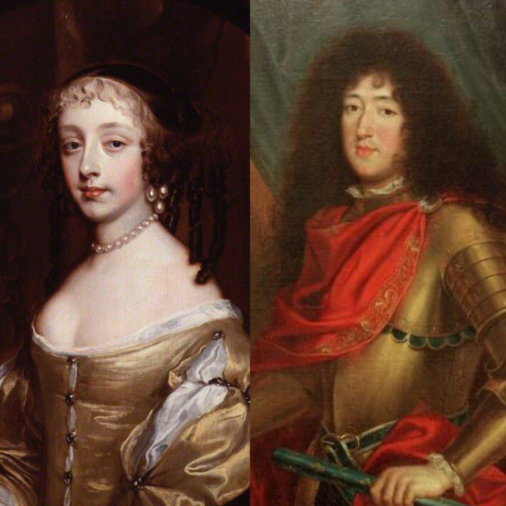 Philippe duca d'Angiò e Orleans, fratello del re Louis XIV, e la sua sposa Henriette Anne Stuart.