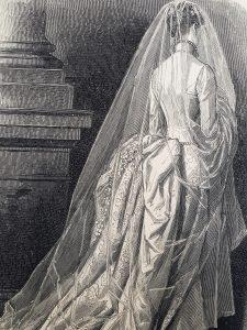 Incisione abito da sposa retro