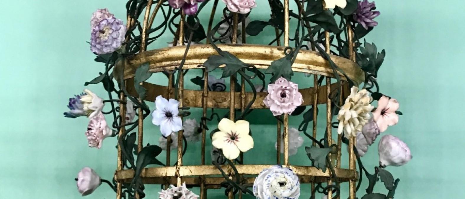 Gabbia fiori Vincennes porcellana
