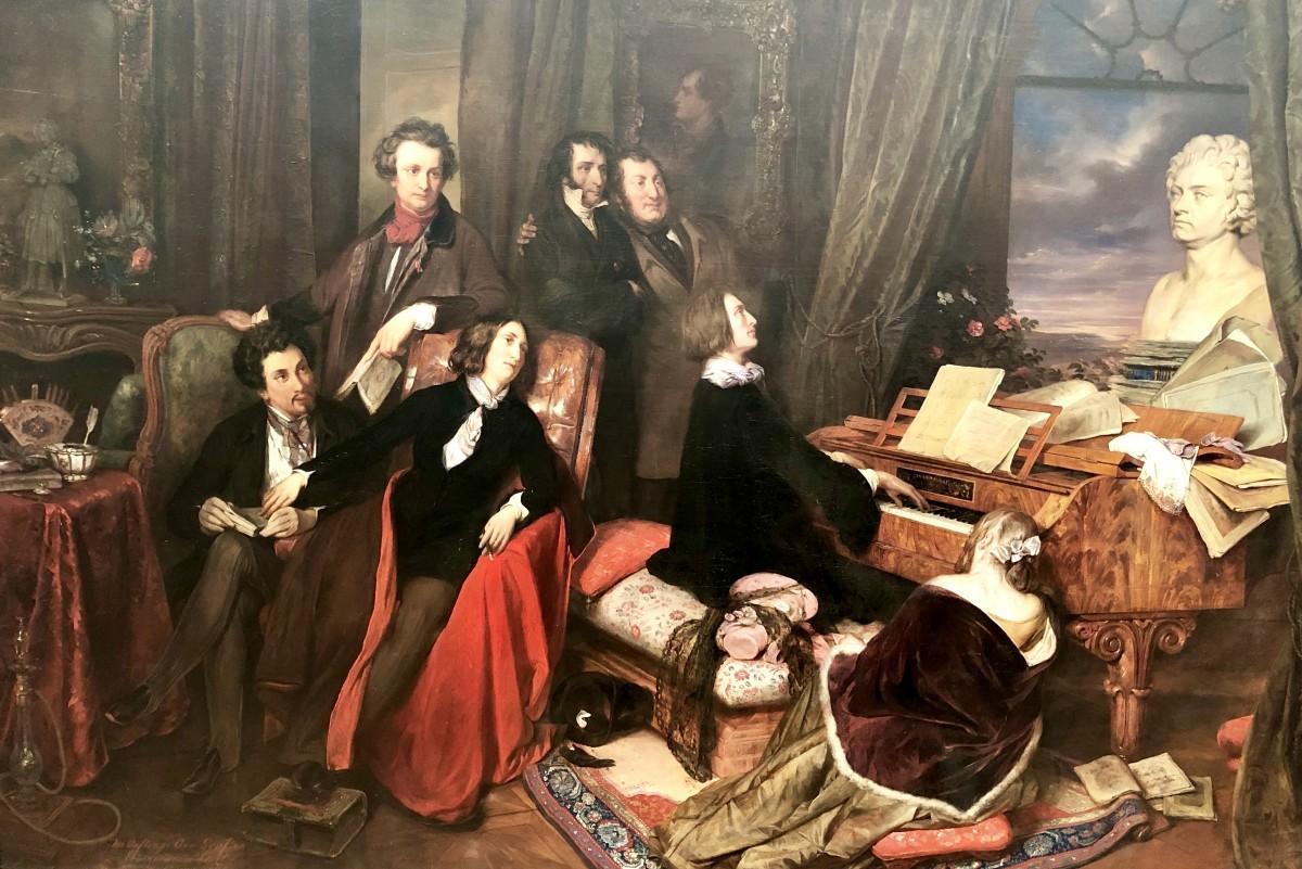 Joseph Danhauser, Liszt al painoforte (1840, Lustgarten e Altes Museum, Berlino).