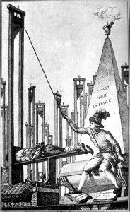 Una caricatura che mostra Robespierre intento a ghigliottinare il boia stesso, ultimo superstite rimasto a Parigi.